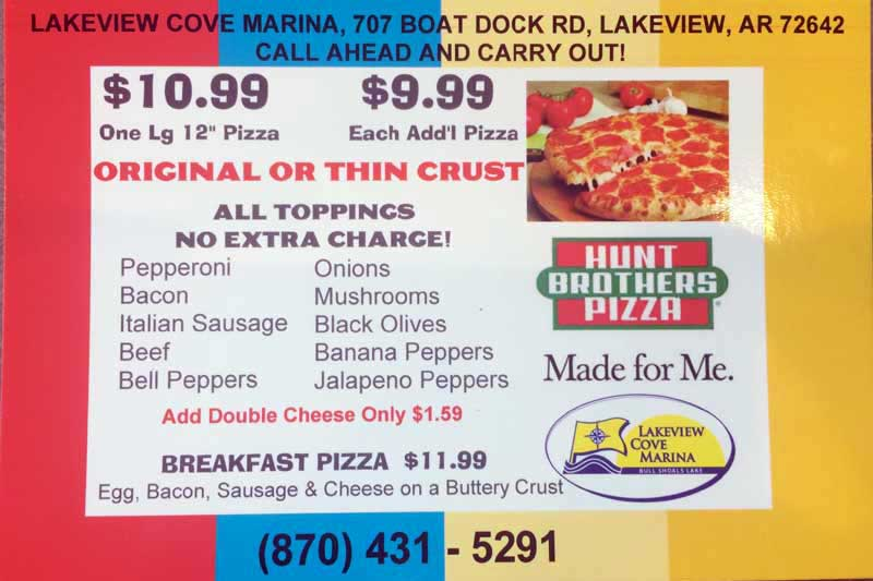 Hunt Bros Pizza Menu